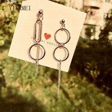 Новые модные ювелирные изделия, богемные серьги, асимметричные круглые цепочки, уличные серьги с бахромой, женские круглые длинные серьги, ювелирные изделия