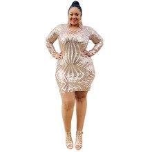 Glitter Dress Plus Size 4xl 5xl Women Sequin Sheer Dress Mesh Sleeve Tight Sukienka