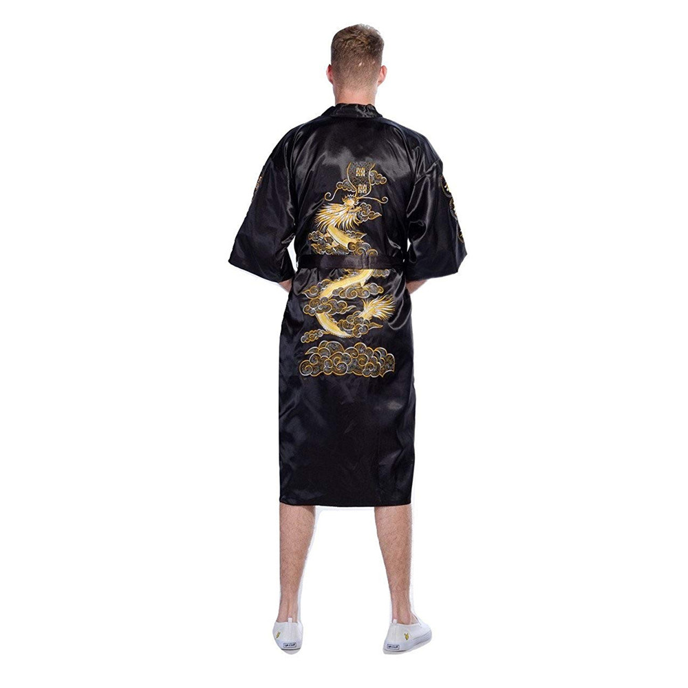 Black Embroidery Dragon Robes Traditional Male Sleepwear Lounge Nightwear Kimono Bathrobe Gown Homewear Nightgown Home Clothing