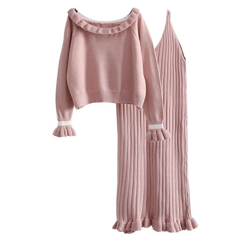 Женские свитера из 2 предметов, комплект с платьем 2018, новые зимние женские Элегантные вязаные пуловеры с оборками и тонкие сексуальные платья, костюмы