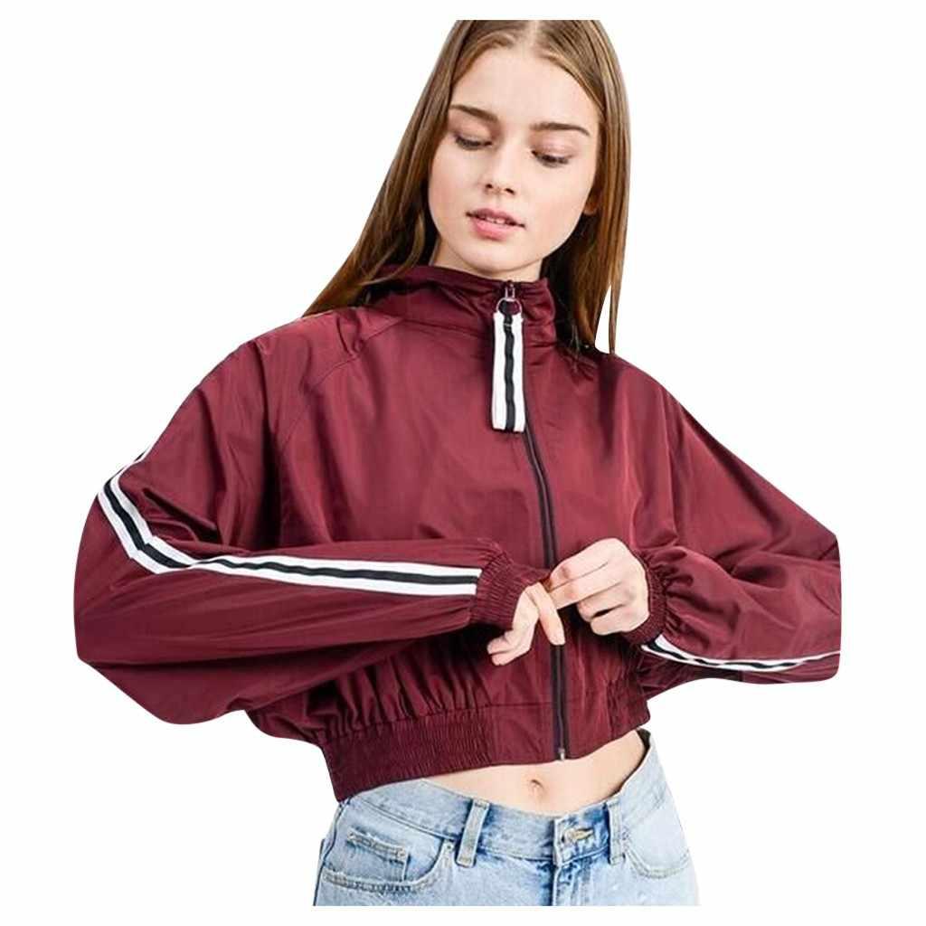 Chaquetas mujer 2019 veste femmes manches tirant contraste à manches longues mince peau costumes à capuche Zip vêtement de baseball vêtements d'extérieur manteau chaude