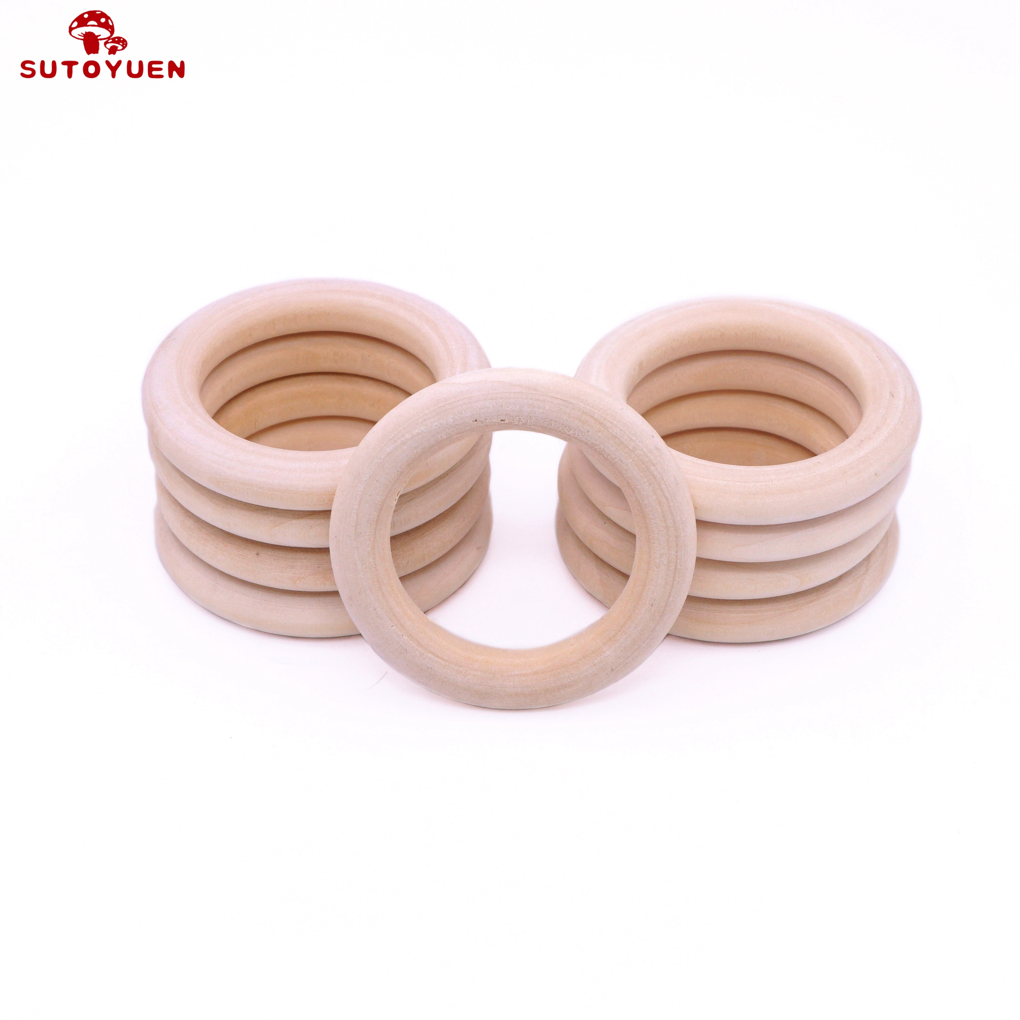 Image 4 - Sutoyuen Baby Teether 100pcs Wooden Round Wood Ring 40 70mm DIY Bracelet Crafts Gift Wood Teether Natural Teething AccessoryBaby Teethers   -