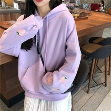 Ins Harajuku Plus Velvet Hooded Sweatshirt Winter Strawberry Loose Long Sleeve Pullover Print Pocket Casual Hoodies
