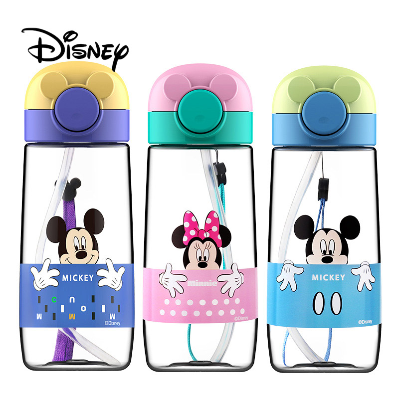 Disney 360ML Children's Baby Water Bottle Mickey Minnie Kids Cup Girl Portable Feeding Bottle With Straw Leakproof Water Cups