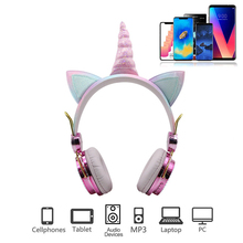 Cute Unicorn Headsets Wired With Mic Cute Earphone Girls Kids Headphones For Laptop Headphone Cellphones PC MP3 Tablet Headsets