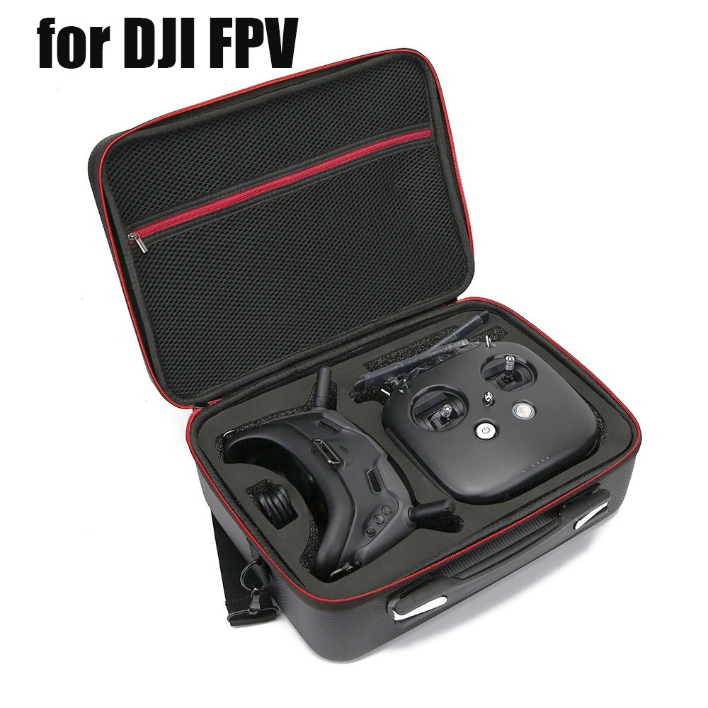 Portable Travel Carrying Case For DJI FPV System Air Unit FPV Goggles Combo PU Cover Handbag With Shoulder Strap Waterproof Bag