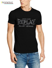 Fashion Casual Printed T Shirt Replay Mens Logo Short Sleeve Cotton T-Shirt