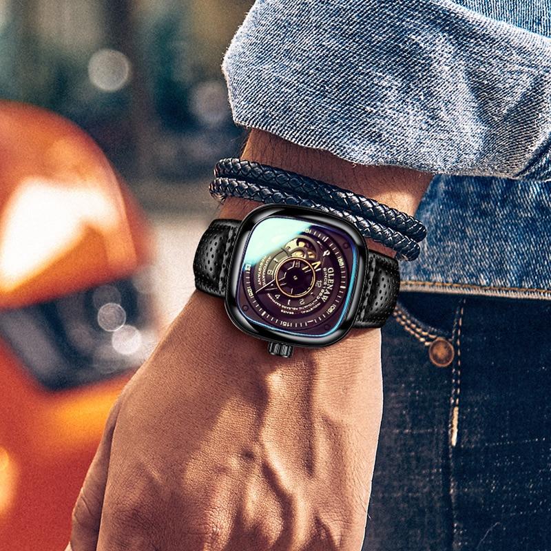 Glenaw Design Brand 2021 Men Hollow Automatic Black Mechanical Watch GMT  Top Brand Reloj Hombre Watches Waterproof 6