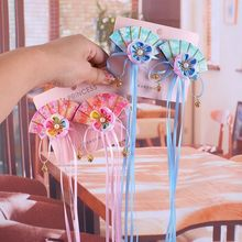 цена на 1pair Chinese Traditional Handmade Flower Ribbon Sector Hair Pins Festival Hair Clip Kids Hair Accessories Gift
