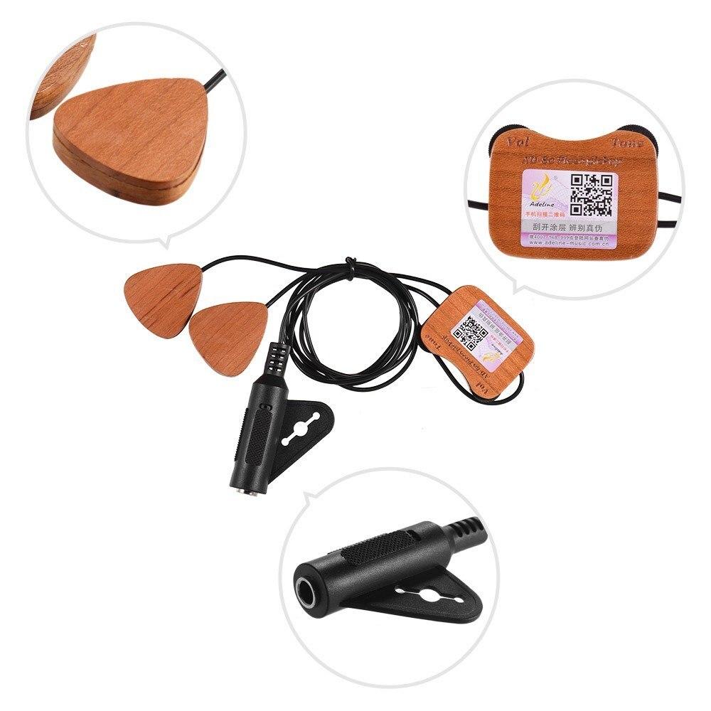 Transducteur de ramassage de guitare en bois auto-adhésif 3 micros avec prise de sortie 6.35mm pour guitare Folk classique acoustique ukulélé violon