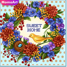 MomoArt 5D Diamond Painting Flowers Full Drill Square Rhinestones Embroidery Sweet Home Cross Stitch Decoration