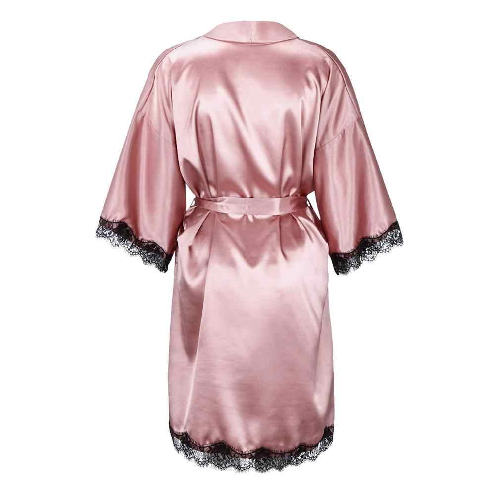 サテンショート着物ブライドメイドランジェリーローブの豪華女性のバスローブ女性パジャマドレッシングガウン