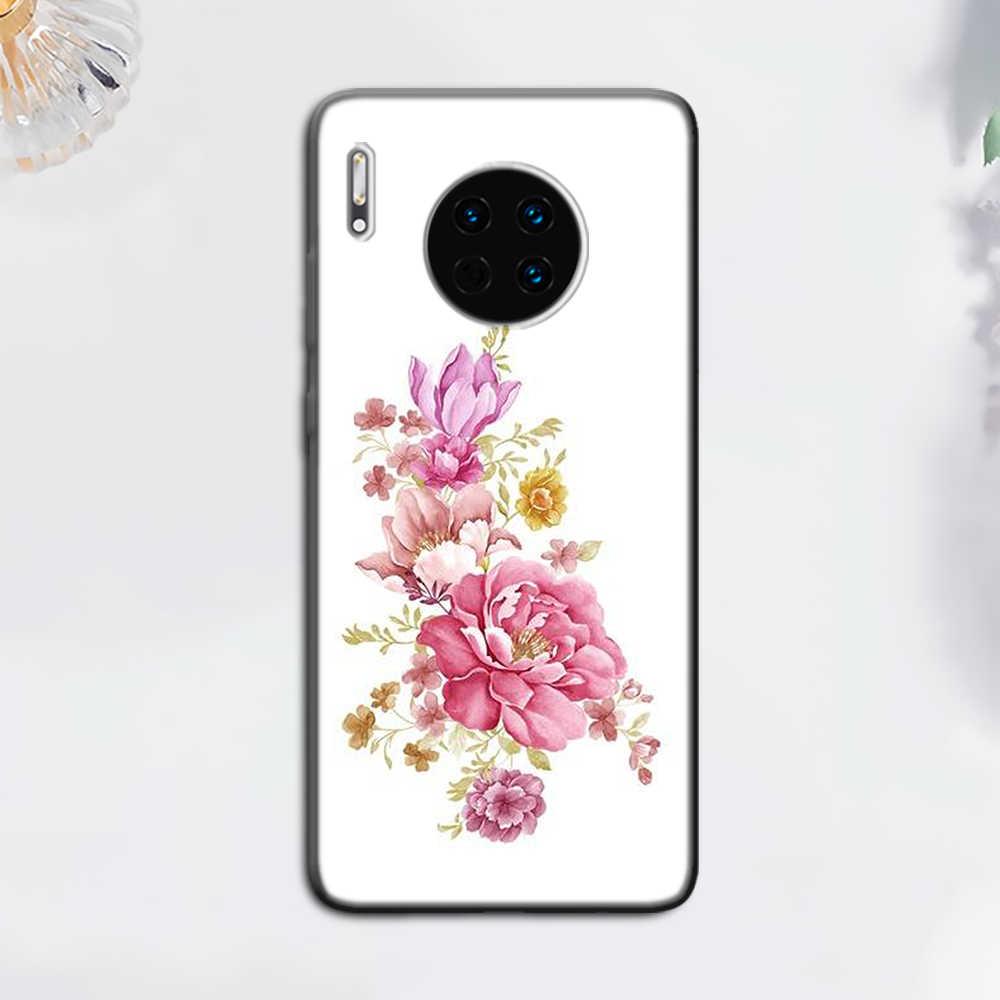 Kabartmalı çiçek pembe çiçek gül siyah yumuşak kılıf Huawei Mate 10 20 30 Pro 10 20 30 Lite 30 pro 5G P30 Pro TPU kapak çapa