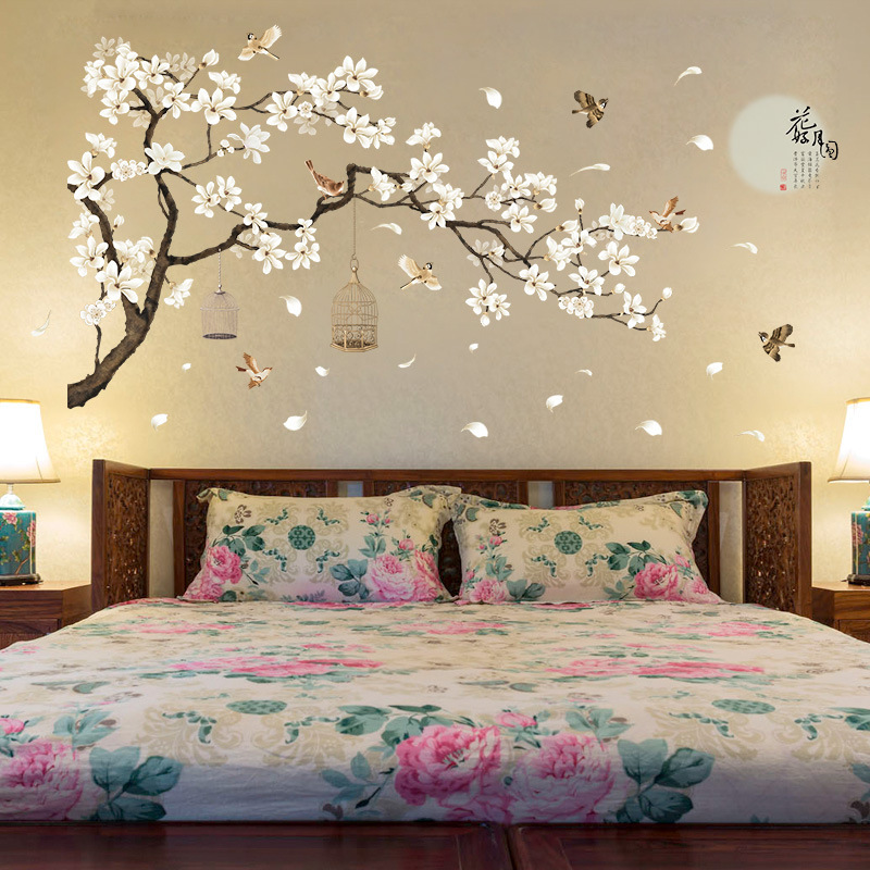 187*128cm DIY Vinyl Rooms Decoration Big Size Tree Wall Stickers Birds Flower Home Decor Wallpapers for Living Room Bedroom