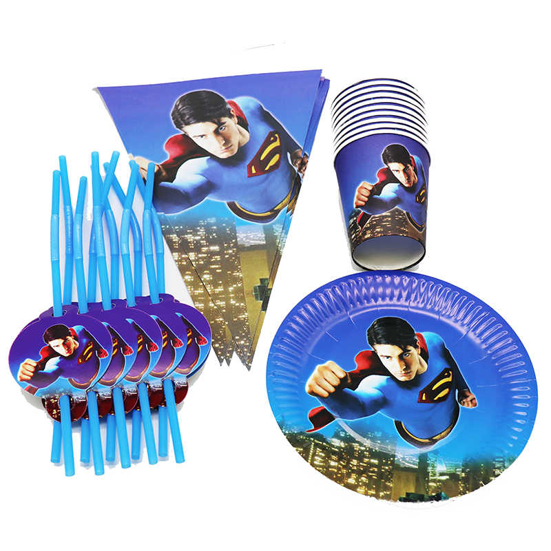 80 Uds Tema de Superman vajilla desechable de Superman placas tazas pajitas Superman fiesta decoraciones para baby shower decoración de la fiesta