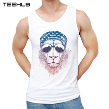 Vest Tank-Tops Lion-Printed New-Fashion TEEHUB O-Neck Hipster Glassed Wild-Lion-Design