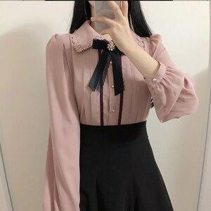 Image 3 - 2020 wiosna kobiet słodkie topy styl Preppy rocznika Japaneses projekt koreański przycisk eleganckie formalne koszule bluzki różowy biały 12020