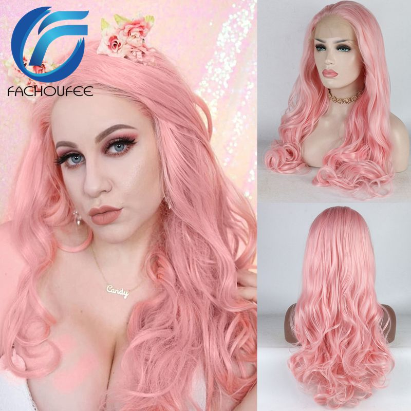 FACHOUFEE Pastel Pink Synthetic Lace Front Wigs For Women Party Body Wave Heat Resistant Fiber Glueless Lace Wig With Baby Hair