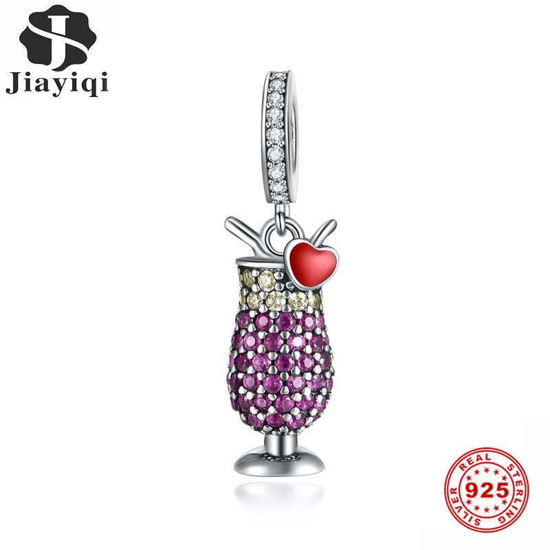 Jiayiqi New 925 Sterling Silver Purple Cocktail Glass Beads Charms Fit Women Original Necklace&Bracelet DIY Silver 925 Jewelry