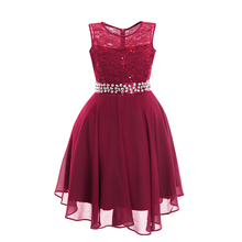 Elegant Wedding Bridesmaid Dresses for Kids Girls Sleeveless Sequins Lace Chiffon Dress & Rhinestone Waistbelt Princess