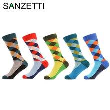 SANZETTI 5 pair/lot Design Socks Oil Painting Combed Cotton Brand Harajuku Men