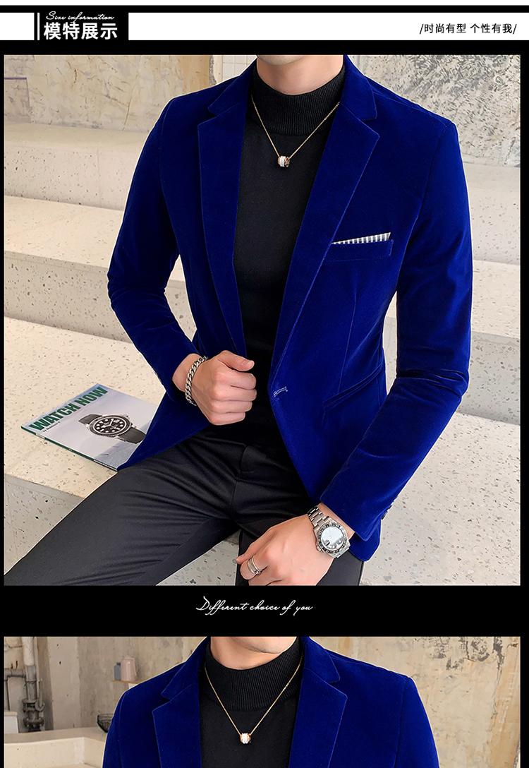 H778a2c98f90c4dbdb5b6e66dbf1d0307Y - Autum Velvet Wedding Dress Coat Mens Blazer Jacket Fashion Casual Suit JacketStage DJ Men's Business Blazers Veste Costume Homme