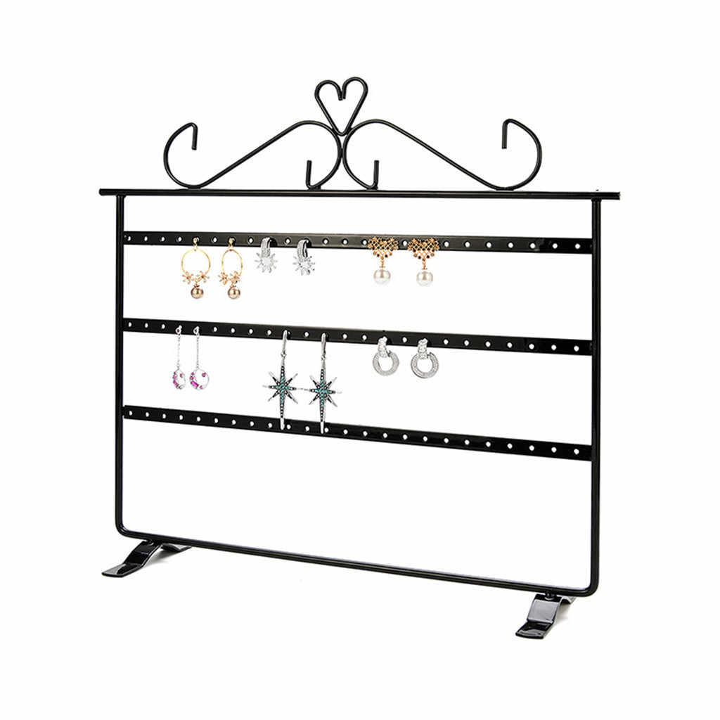 3-Tier Tahan Lama Perhiasan Stand Rak Kayu Logam Dasar Perhiasan Pemegang Display Stand Menjuntai Anting-Anting Menggantung 72 Lubang Penyimpanan rak