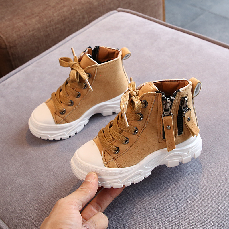 Children's Martin Boots Autumn Winter New Fashion Boys Girls Booties Warm Snow Non-slip Soft Bottom Kids Shoes