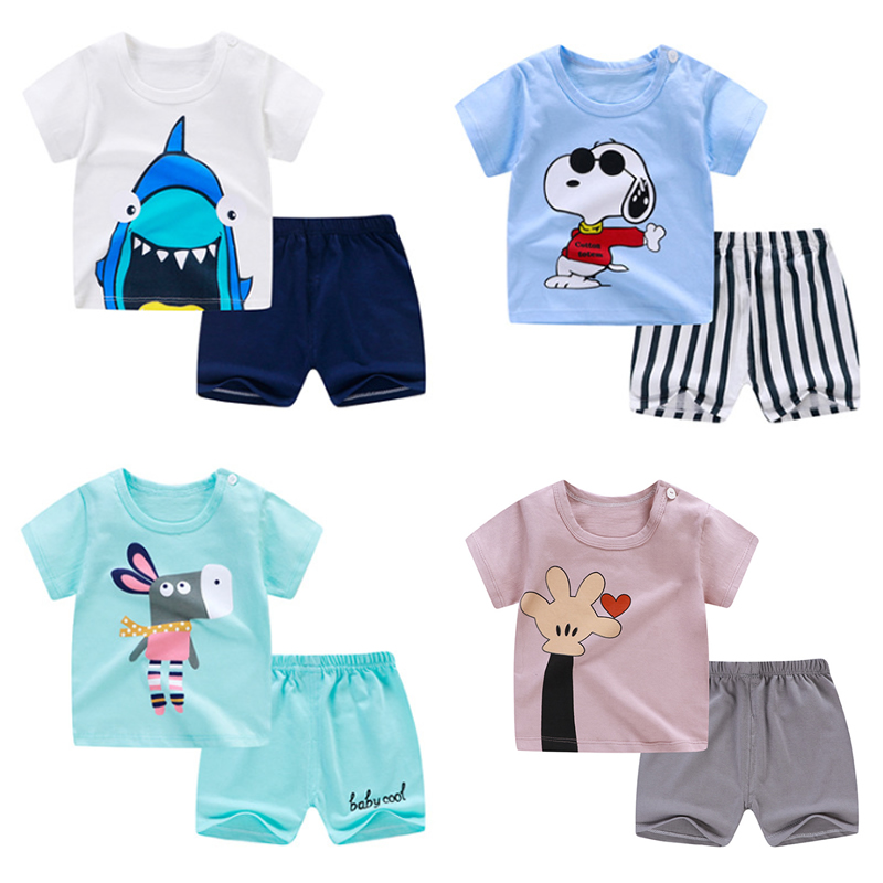 Pyjamas Kids Sleepwear Short-Sleeve Enfant Toddler Baby-Girls-Boys Children Cotton Cartoon title=