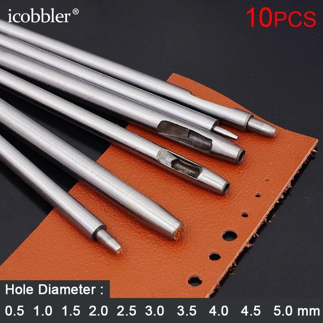 10 قطعة جولة الجوف حفرة لكمة القاطع Leatherworking تك الصلب أدوات DIY القاطع ل حزام حزام (استيك) ساعة طوقا الناخس ، 0.5 5 مللي متر