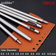 10 Uds. Cortador de Agujero hueco redondo, herramientas de acero para tachuelas de cuero, cortador DIY para correa de reloj, perforador de junta de correa, 0,5 5mm