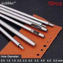 10 pces redondo buraco oco perfurador cortador leatherworking tack ferramentas de aço diy cortador para cinto relógio banda gaxeta puncher, 0.5 5mm