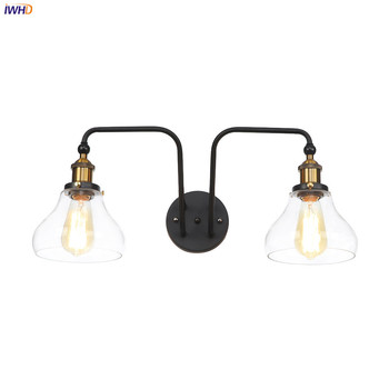 IWHD  Edison Antique Vintage Wall Lamp Bedroom Restaurant Bar 2 Heads Glass Loft Decor Indsutrial Retro Wall Light Sconce LED iwhd antique rustic vintage wall lamp bedroom mirror stair glass loft decor industrial retro wall light fixtures wandlamp edison