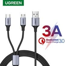 UgreenสายUSB C 2 In 1 สำหรับSamsung Galaxy S10 S9 Plus 3Aสายชาร์จMicro USBสำหรับone Plus 6 5 โทรศัพท์มือถือ