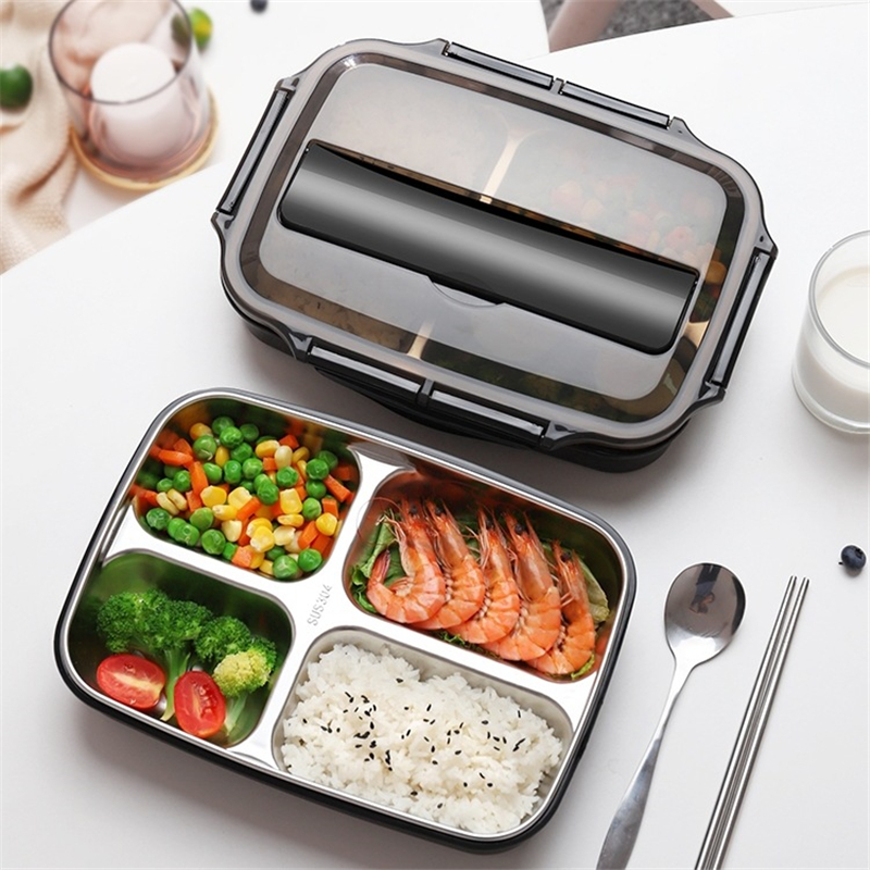 Stainless Steel Thermal Lunch Box Containers With Compartments Leakproof Bento Box With Tableware Food Container Box