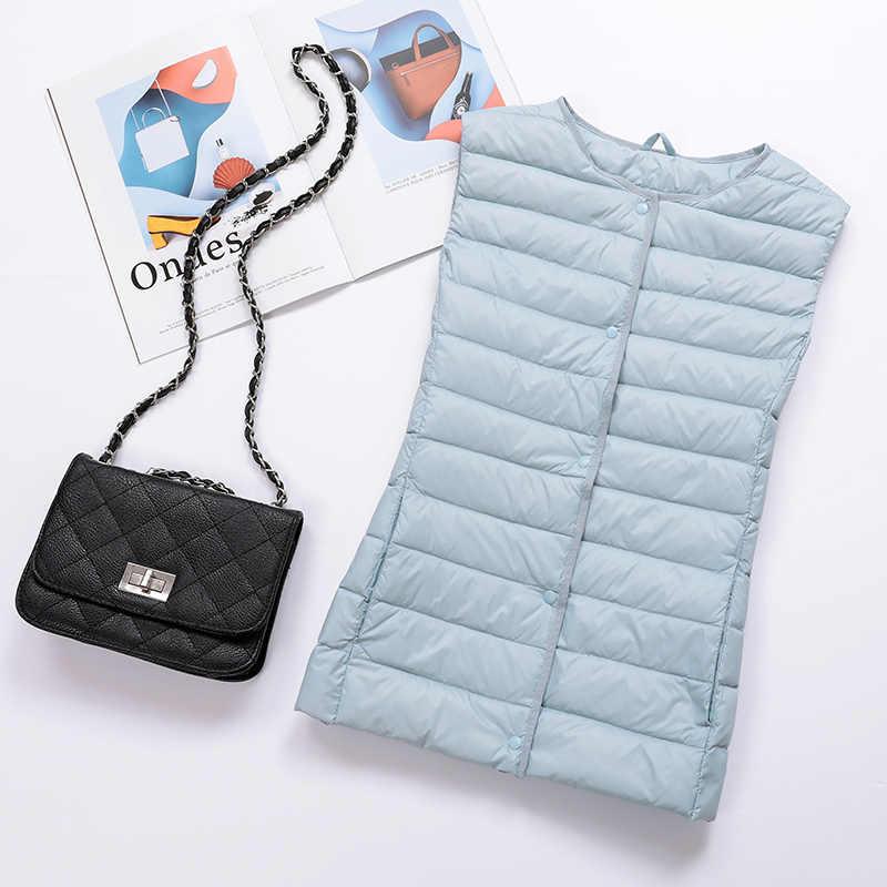 Puffer 2020 Vest Vrouwen Ultra Licht Donsjack Mouwloze Jas Korte Vest Chalecos Para Mujer RSMJ1001 KJ3079
