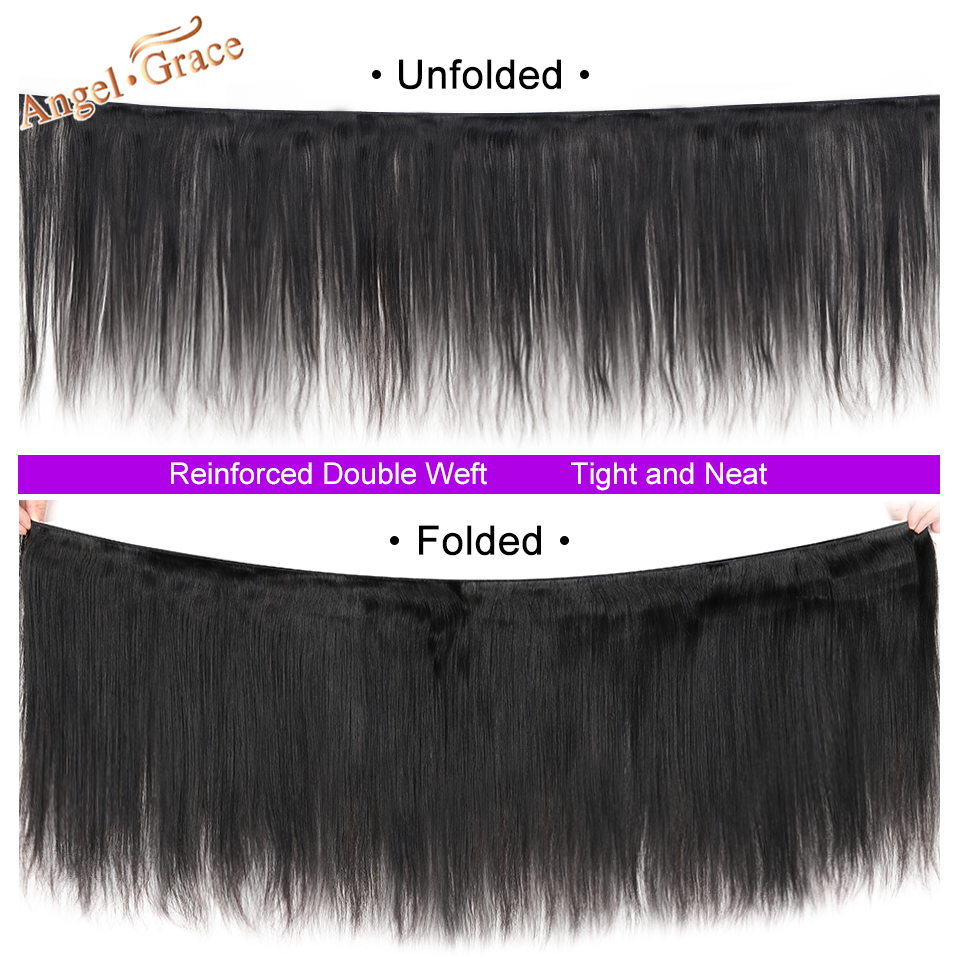 Angel Grace Hair Brazilian Straight Hair Bundles With Transparent HD Lace Closure Remy Human Hair Weave Angel Grace Hair Brazilian Straight Hair Bundles With Transparent/HD Lace Closure Remy Human Hair Weave 3 Bundles With Closure