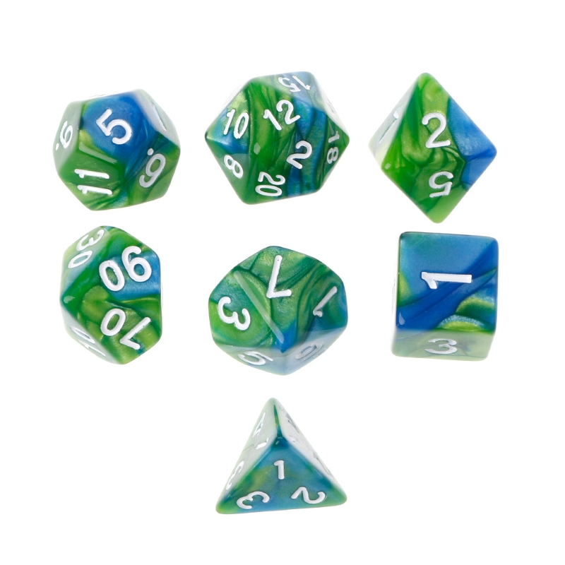 7pcs//Set Acrylic Polyhedral Dice For TRPG Board Game D4-D20 Couple Party Bar