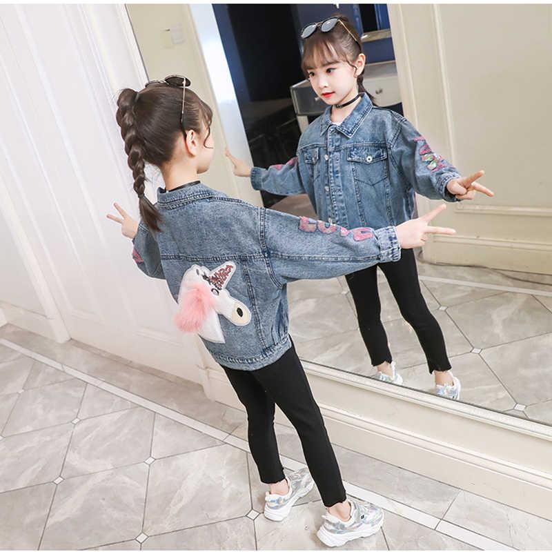 Girls kids Denim Jacket Sequins Sleeves Jeans Outwear Autumn Unicorn Age 4-13 yr