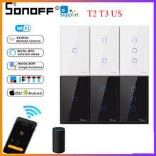 SONOFF – interrupteur WiFi intelligent T2 T3, panneau US, application eWeLink, Module domotique sans fil, commutateur vocal Google Home Alexa