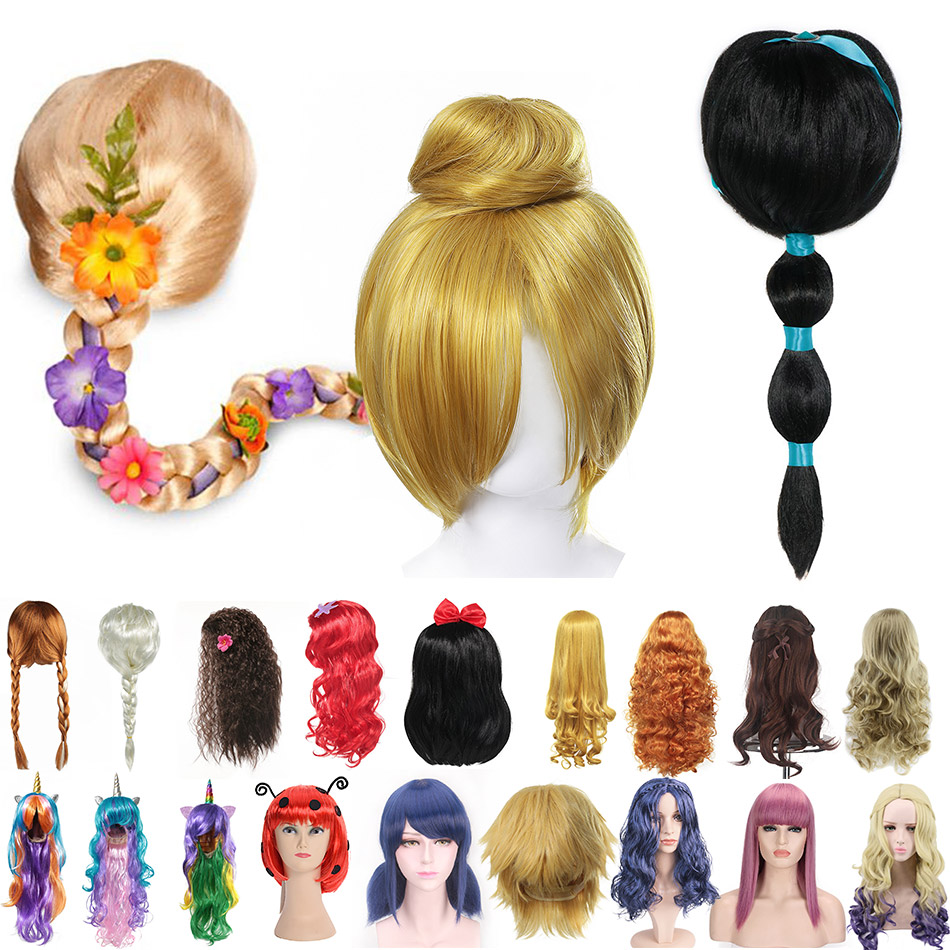 Girls Princess Dress Up Accessories Headgear Synthetic Hair Jasmine Elsa Wig Rapunzel Braid Descendants 3 Mal Evie Cosplay Wigs