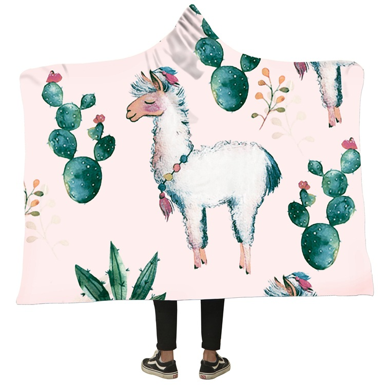 Winter Blanket Sweatshirt Unicorn Cartoon 3D Printed Plush Hooded Blanket for Adults Kid Warm Wearable Fleece Throw Blankets 10