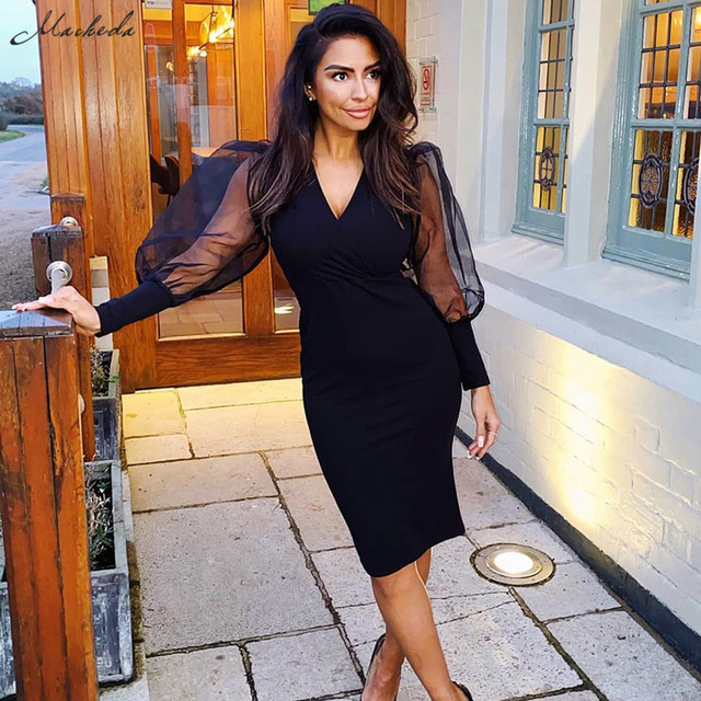 Sexy 2020 black sexy elegant Low bosom patchwork mesh puff sleeve bodycon dress woman fashion club party banquet slim dress 1