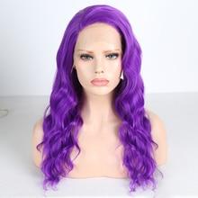 Харизма длинные волнистые волосы фиолетовый парик фронта шнурка боковая часть синтетические парики для женщин термостойкие Glueless парик