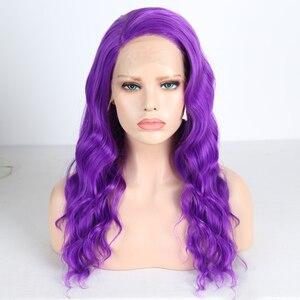 Image 1 - Charisma Lange Körper Welle Haar Lila Spitze Vorne Perücke Seite Teil Synthetische Perücken für Frauen Hitze Beständig Glueless Perücke 150 dichte