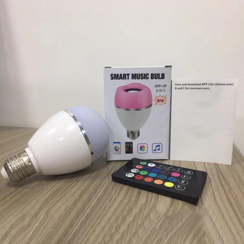 Diodo emissor de luz sem fio alto falante rgb música inteligente bulbo e26 base cor mudando com decorações de controle remoto - 4