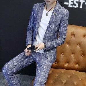 Image 4 - Mens חליפות טרייל פורמליות משובץ בציר חליפות עם מכנסיים 2 חתיכה סט בריטי זכר טוקסידו Slim Fit עסקים מקרית חתונה חתן