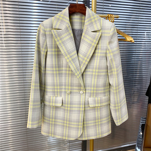 Image 4 - Women Coat 2019 Autumn and Winter Cute Yellow Large Plaid Wool Suit