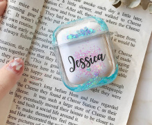 Air pod Case Customized Name Personalized Airpods Blue Glitter Case Personalized Gift Airpod case Cute Air pod bling case cover