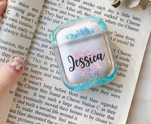 Image 1 - Air pod Case Customized Name Personalized Airpods Blue Glitter Case Personalized Gift Airpod case Cute Air pod bling case cover